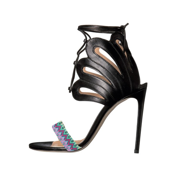 Women's Black and Purple Strappy Stiletto Heel Ankle Strap Sandals image 1