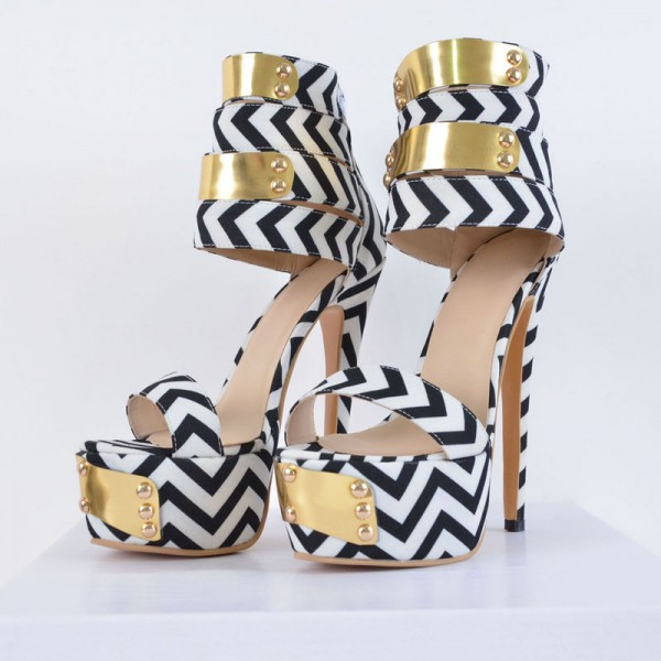 Black and White Heels Platform Sandals Stiletto Heels Stripper Shoes image 3