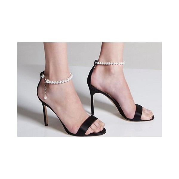 e8889b1800f ... Women s Black Pearl Stiletto Heels Open Toe Ankle Strap Sandals image  ...