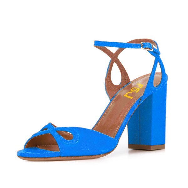 Women's Blue Heels Ankle Strap Chunky Heel Sandals Shoes image 1