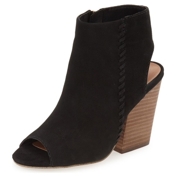 Black Slingback Summer Boots  Suede Chunky Heel Vintage Ankle Boots image 1