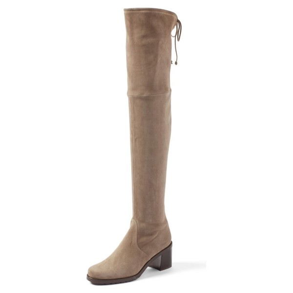 Khaki Suede Long Boots Chunky Heel Thigh-high Boots image 1