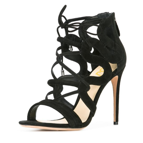 Women's Black Suede Strappy Lace Up Stiletto Heels Sandals image 1