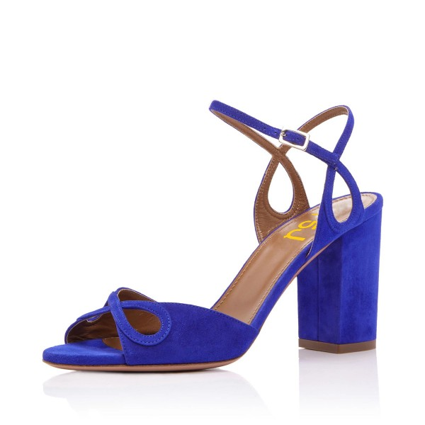 Women's Royal Blue Suede Chunky Heels Ankle Strap Sandals For Prom image 1