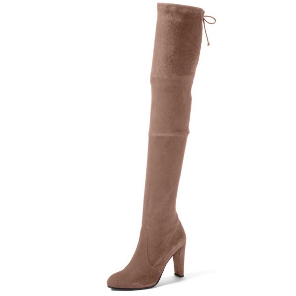 Camel Chunky Heel Boots Round Toe Suede Thigh-high Boots  image 1