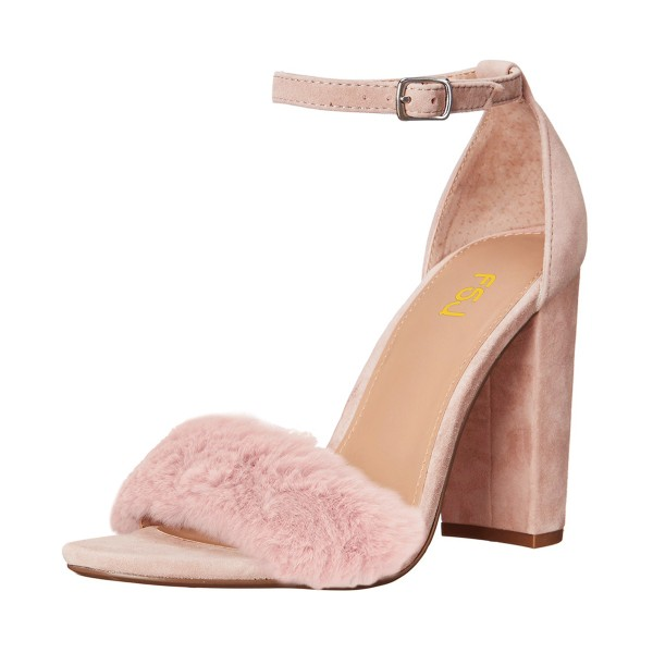 Light Pink Fur Heels Ankle Strap Open Toe Suede Chunky Heel Sandals image 1