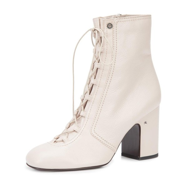 6aa048b146e 2019 Fall Ivory Chunky Heel Boots Lace up Round Toe Ankle Boots image 1 ...
