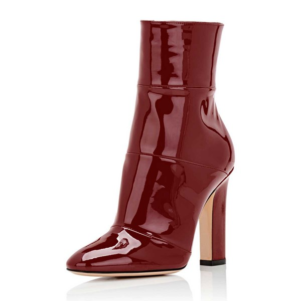 ef8f084c0e114 Red Chunky Heel Boots Patent-leather Ankle Booties for Work for Work ...
