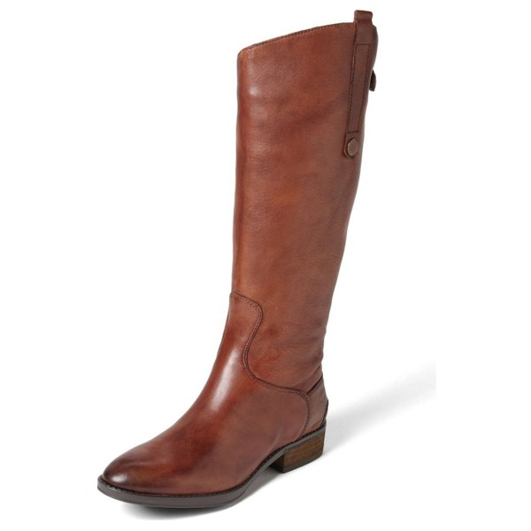 Tan Riding Boots Flat Vegan Leather Vintage Knee Boots US Size 3-15 image 1