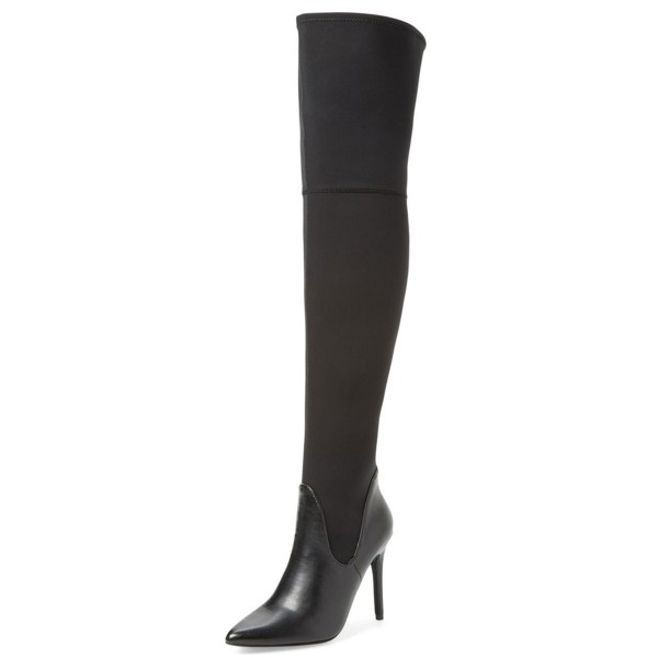 Black Thigh High Heel Boots Pointy Toe Stiletto Heel Long Boots image 1