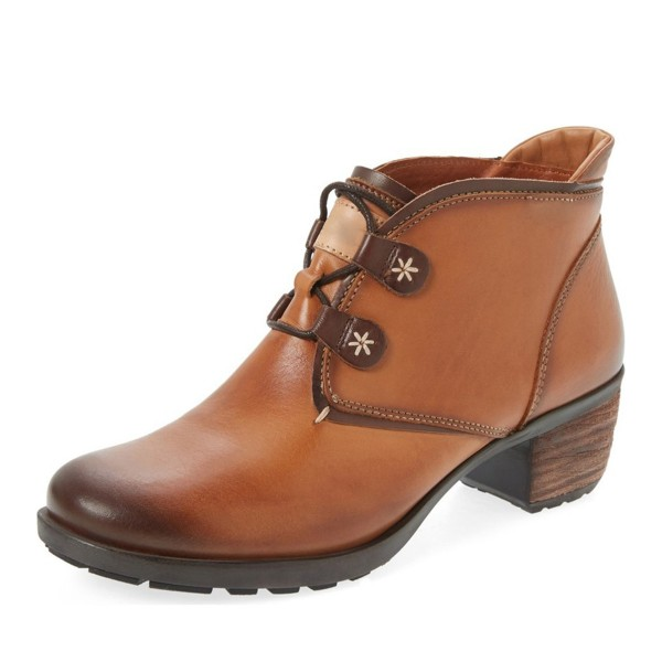 Tan Casual Boots Lace up Vintage Shoes image 1