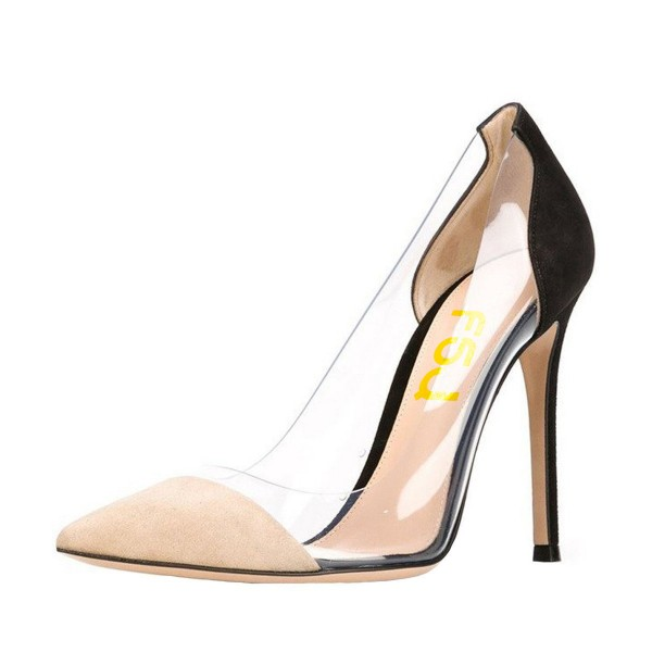 ee1c2abf10d Nude and Black Stiletto Heel Pointed Toe Clear Heels Pumps