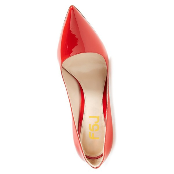 On Sale Red Patent Leather Office Heels Pointy Toe Stiletto Heel Pumps image 2