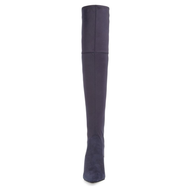 Dark Purple Long Boots Pointy Toe Stiletto Heel Thigh-high Boots image 2
