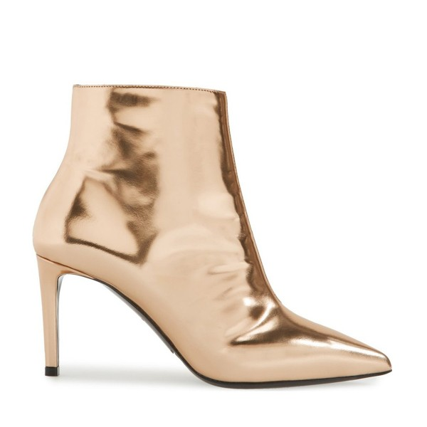 Gold 3 Inches Stiletto Boots Pointy Toe Ankle Boots image 2