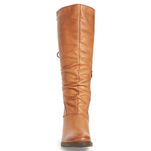 Tan Tall Boots Round Toe Back Lace up Block Heel Vintage Boots image 3
