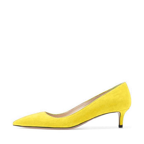 On Sale Yellow Kitten Heels Pointy Toe Suede Pumps Office Shoes image 2