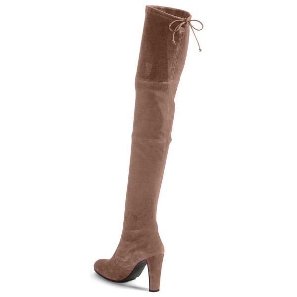 Camel Chunky Heel Boots Round Toe Suede Thigh-high Boots  image 3