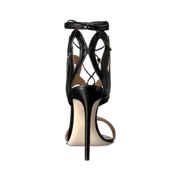 Women's Black and Orange Open Toe Stiletto Heels Strappy Sandals image 2