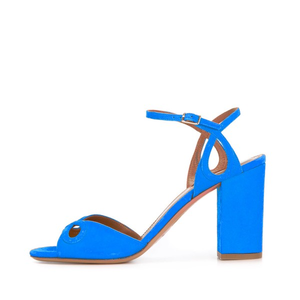 Women's Blue Heels Ankle Strap Chunky Heel Sandals Shoes image 2