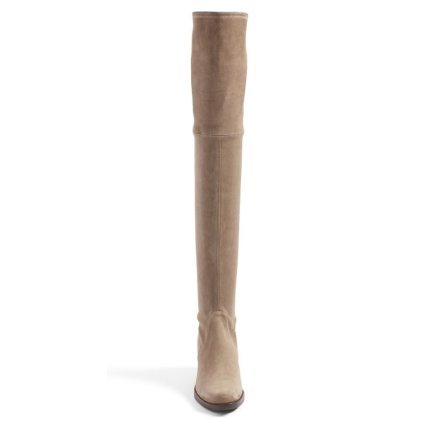 Khaki Suede Long Boots Chunky Heel Thigh-high Boots image 3