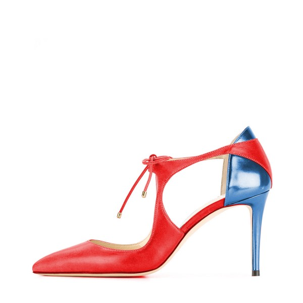 Red and Blue Lace-up Heels Pointy Toe 3