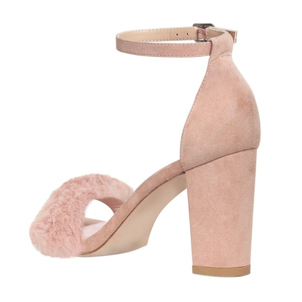Light Pink Fur Heels Ankle Strap Open Toe Suede Chunky Heel Sandals image 3