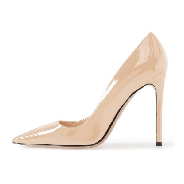 On Sale Nude Stiletto Heels Patent Leather Pointy Toe Dressy Pumps image 4