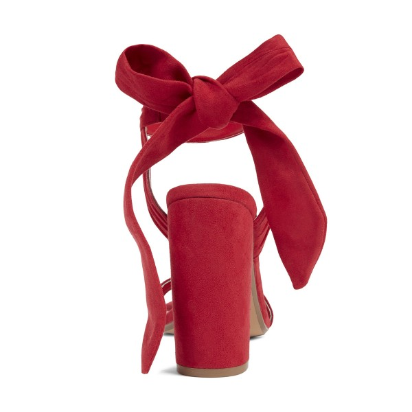Red Block Heel Sandals Suede Prom Shoes image 3