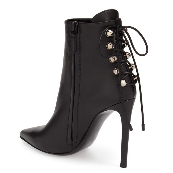 Black Stiletto Boots Pointy Toe Back Lace up Booties with Silver Studs image 4