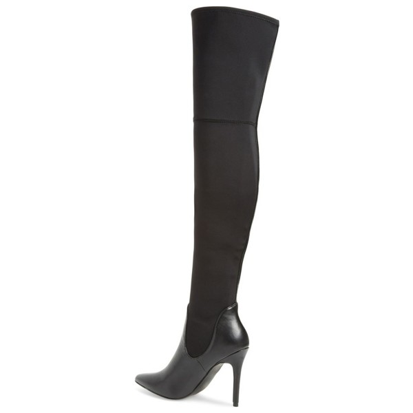Black Thigh High Heel Boots Pointy Toe Stiletto Heel Long Boots image 3