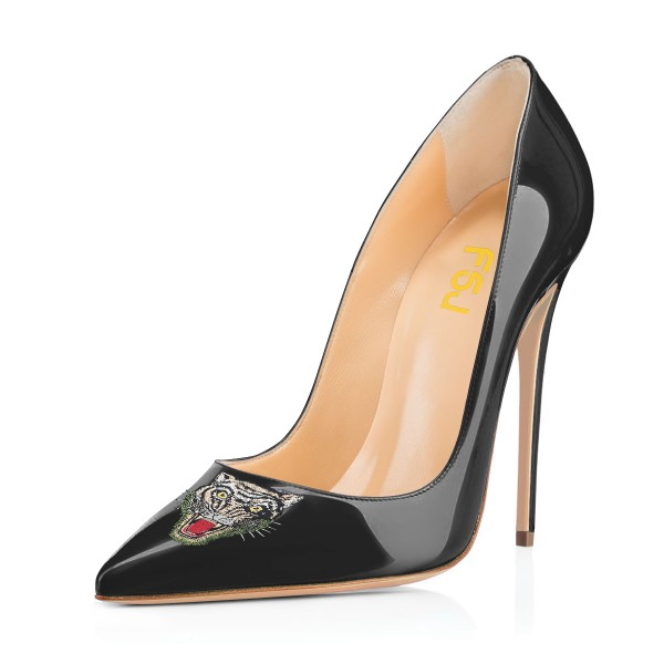 Women's Black Pointy Toe Tiger Floral Office Heels Stiletto Heels Pumps image 1