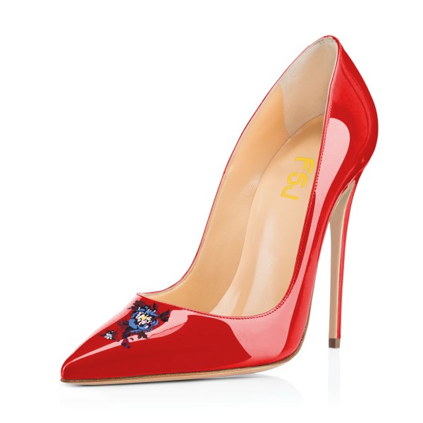 Women's Red Floral Office Heels Pointy Toe Stiletto Heels Pumps image 1