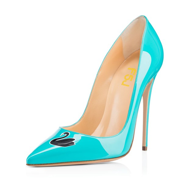 Women's Turquoise Swan Floral Office Heels Pointy Toe Stiletto Heels Pumps image 1