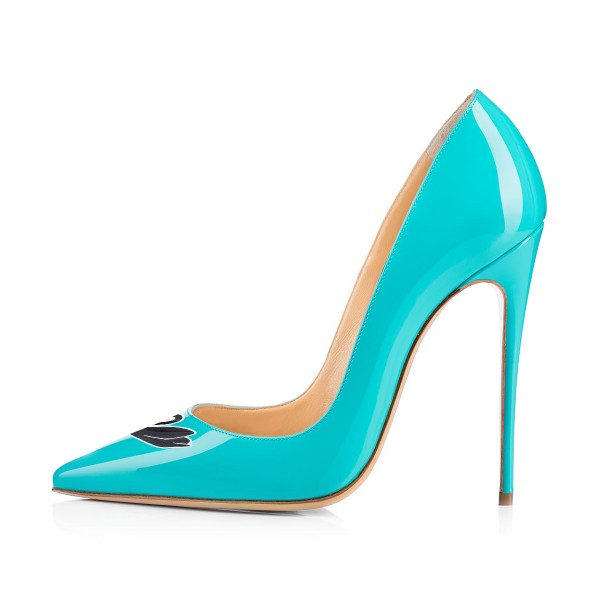 Women's Turquoise Swan Floral Office Heels Pointy Toe Stiletto Heels Pumps image 3
