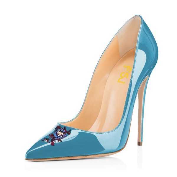Blue Floral Office Heels Pointy Toe Stiletto Heels Pumps image 1