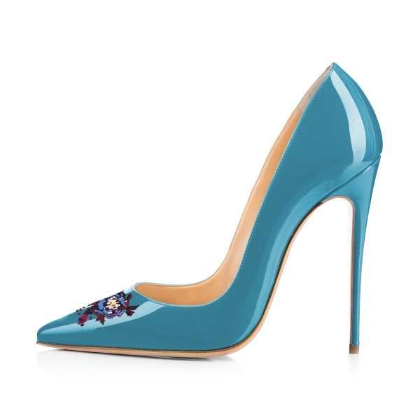 Blue Floral Office Heels Pointy Toe Stiletto Heels Pumps image 3