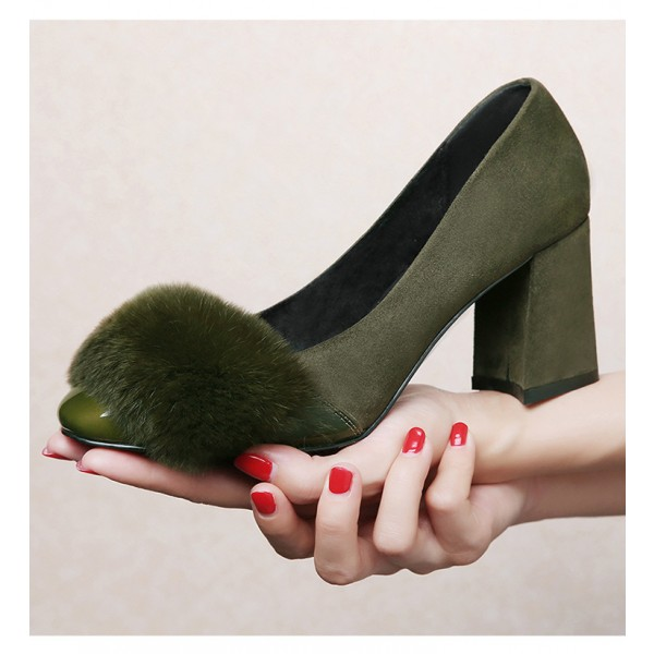 Olive Fur Heels Suede and Patent Leather Block Heel Office Pumps image 2