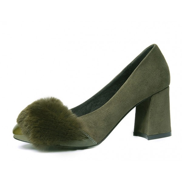Olive Fur Heels Suede and Patent Leather Block Heel Office Pumps image 1