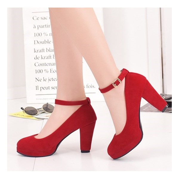 862d1b6a40a Red Ankle Strap Heels Suede Chunky Heel Pumps image 1 ...