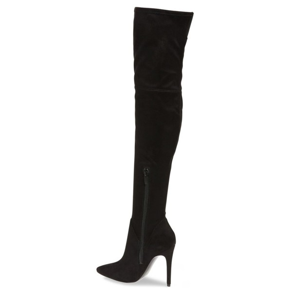 Black Thigh High Heel Boots Pointy Toe Suede Stiletto Heel Boots image 2