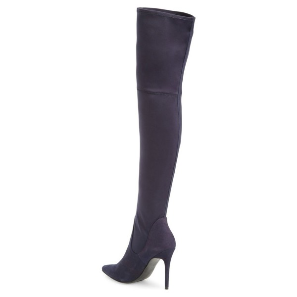 Dark Purple Long Boots Pointy Toe Stiletto Heel Thigh-high Boots image 3