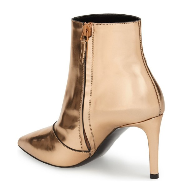 Gold 3 Inches Stiletto Boots Pointy Toe Ankle Boots image 4