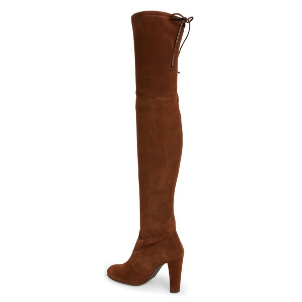 Brown Long Boots Chunky Heel Thigh-high Boots for Women image 3