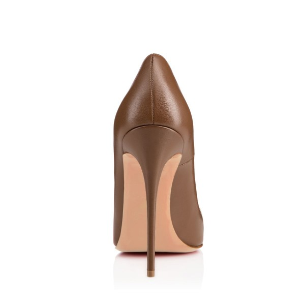 Brown Vegan High Heels Office Shoes Pointy Toe Stiletto Heel Pumps image 3