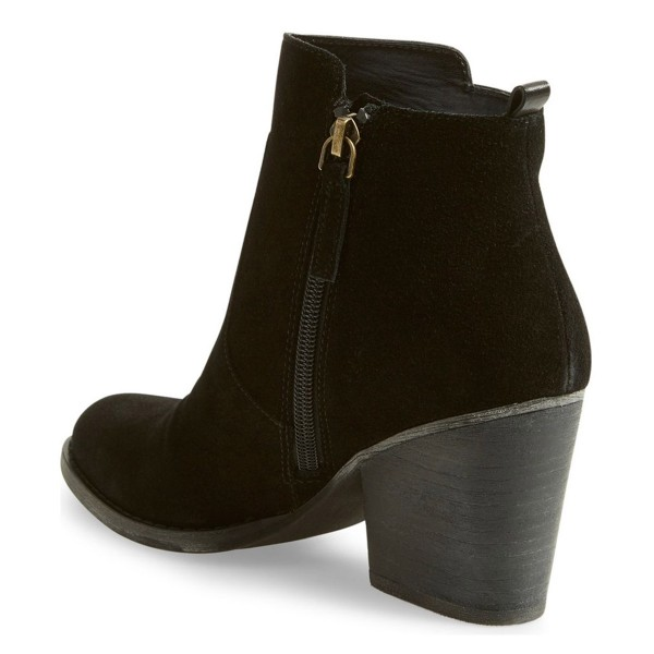 Lelial Black Suede Chunky Heel Boots Round Toe Comfortable Ankle Booties image 2