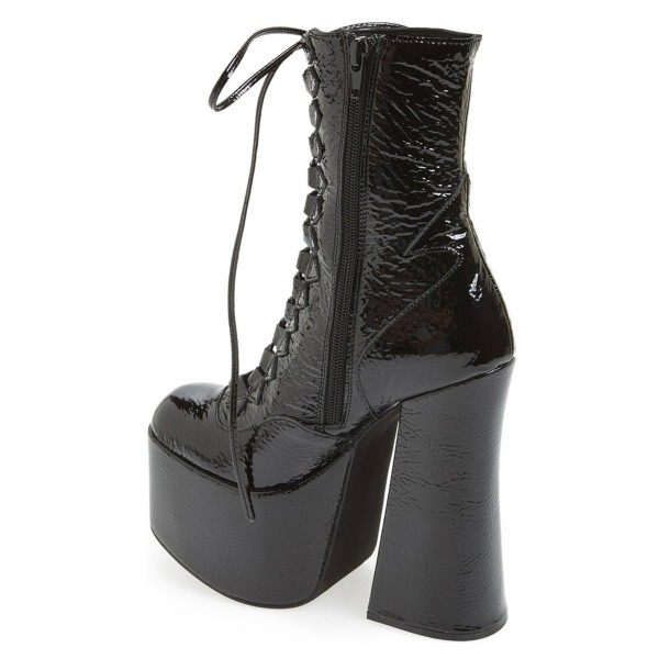 Black Textured Patent Leather Lace up Chunky Heel Retro Platform Boots image 3