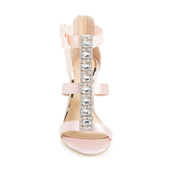 Pink Bridal Sandals Satin T-strap Rhinestone Stiletto Heels by FSJ image 2