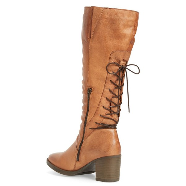 Tan Tall Boots Round Toe Back Lace up Block Heel Vintage Boots image 2