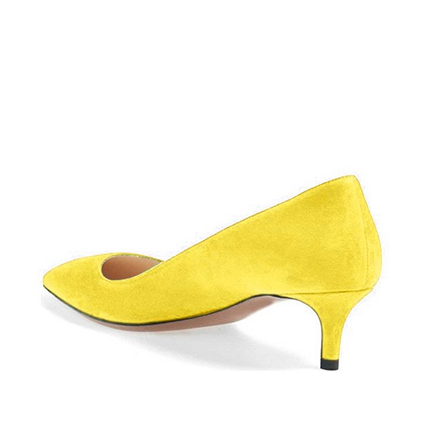 On Sale Yellow Kitten Heels Pointy Toe Suede Pumps Office Shoes image 3